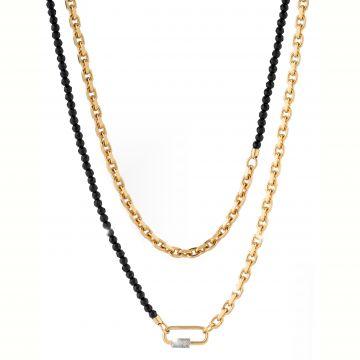 Collana Palermo modello chanel con catena media e piccola e filo di pietre di giada