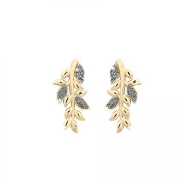 Orecchini Jolie in argento con foglie di ulivo rivestite di polvere di diamanti