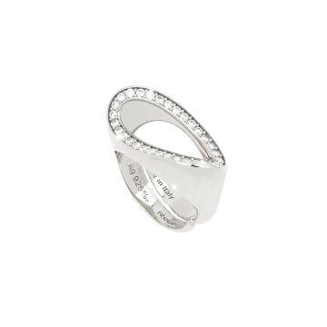 Anello a onda in argento e pietre