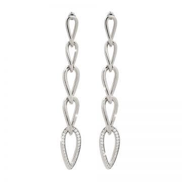 Orecchini in argento con cinque maglie e pietre
