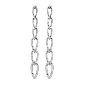 Orecchini in argento con sei maglie lisce